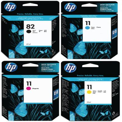 Genuine HP (#82) Black HP (#11) C/M/Y Multi Pack Ink Cartridge (HP82BKHP11CMYMULTIOEM)