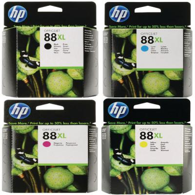 Genuine HP (#88H) BK/C/M/Y High Capacity Multi Pack ink Cartridge (HP88XLBKCMYHOEM)