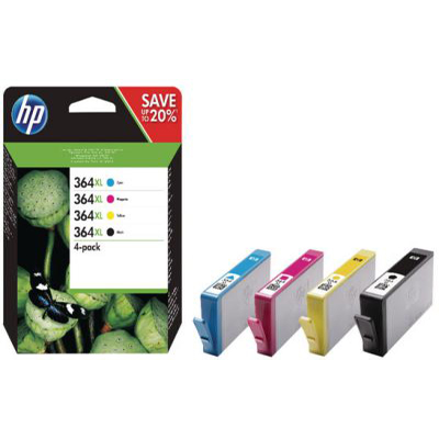 Genuine HP N9J74AE (#364) BK/C/M/Y High Capacity Multi Pack Ink Cartridge (HP364XLBKCMYMULTIOEM)