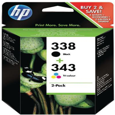 Genuine HP SD449EE (#338) Black HP (#343) Tri-Colour Multi Pack Ink Cartridge (HP338BKHP343CLRMULTIOEM)