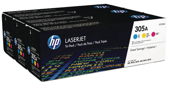 Genuine HP CF370AM (#305A) C/M/Y Multi Pack Toner Cartridge (HPCF370AMCMYMULTIOEM)