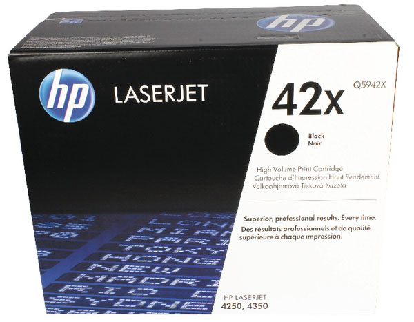 Genuine HP Q5942X (#42X) Black High Capacity Toner Cartridge (HPQ5942XBKOEM)