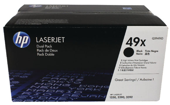 Genuine HP Q5949X (#49X) BK Twin Pack High Capacity Toner Cartridge (HPQ5949XDBKTWINHOEM)