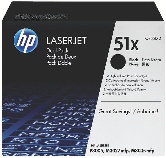 Genuine HP Q7551XD (#51X) BK Twin Pack High Capacity Toner Cartridge (HPQ7551XDBKTWINOEM)