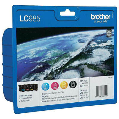 Genuine Brother LC985 Multipack (BK/C/M/Y)  Ink Cartridges (LC-985VALBPOEM)