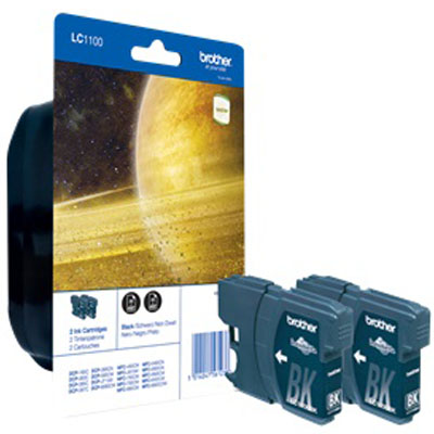 Genuine Brother LC1100 Black Twin Pack Ink Cartridge (LC-1100BKTWINOEM)