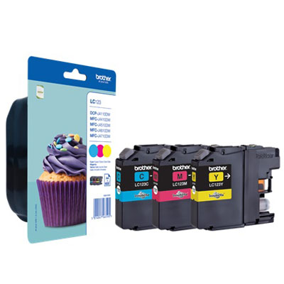 Genuine Brother LC123RMW (C/M/Y) Rainbow Pack Ink Cartridge (LC-123RBWOEM)