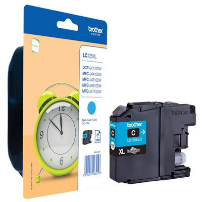 Genuine Brother LC125XLC High Yield Cyan Ink Cartridge (LC-125XLCOEM)