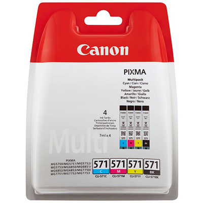 Genuine Canon CLI-571 BK/C/M/Y Multi Pack ink Cartridge (CLI571BKCMYMULTIOEM)