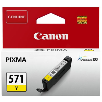 Genuine Canon CLI-571 Yellow ink Cartridge (CLI571YOEM)