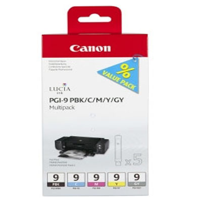 Genuine Canon PGI-9 PBK/C/M/Y/GY Multi Pack Ink Cartridge (PGI9PBKCMYGYOEM)