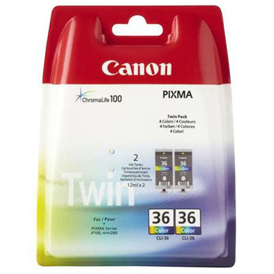 Genuine Canon CLI-36 Twin Pack Chromolife Colour Ink Tank (CLI36TWINOEM)