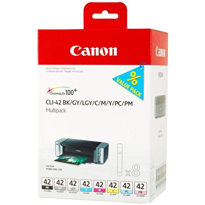 Genuine Canon CLI-42  BK/C/M/Y/PC/PM/GY/LG Multi Pack Ink Cartridge (CLI42PBKCMYPCPMGYLGMULTIOEM)