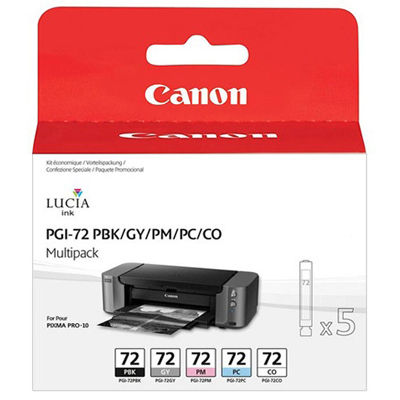 Genuine Canon PGI-72 Colour BK/GY/PM/PC/CO MultiPack Ink Cartridge (PGI72BKGYPMPCCOMULTIOEM)