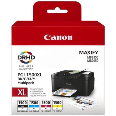 Genuine Canon PGI-1500XL BK/C/M/Y Multi Pack ink Cartridge (PGI1500XLBKCMYOEM)