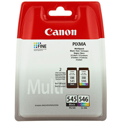 Genuine Canon PG-545 Black CL-546 CLR Twin Pack Ink Cartridge (PG545BKCL546CLRTWINOEM)
