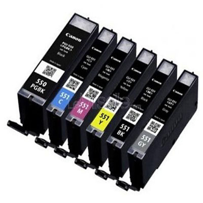 Genuine Canon PGI-550 Black CLI-551 Colour C/M/Y/GY/PBK Multi Pack Ink Cartridge (PGI550BKCLI551BKCMYPGYMULTIOEM)