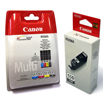 Genuine Canon PGI-550 Black CLI-551 C/M/Y/PBK Multi Pack Ink Cartridge (PGI550BKCLI551PBKCMYPMULTIOEM)