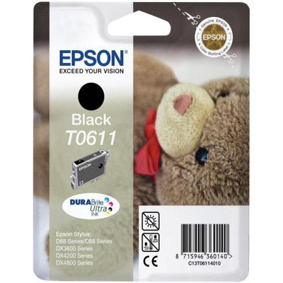 Genuine Epson C13T06114010 Black Ink Cartridge (T0611BKOEM)