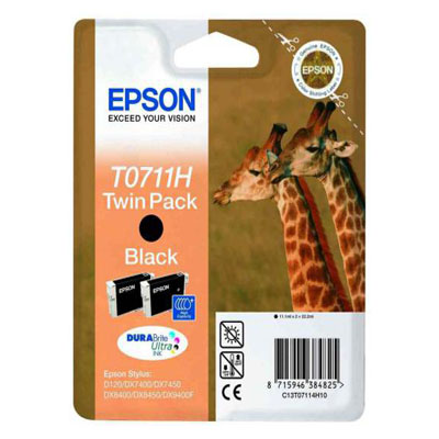 Genuine Epson C13T07114H10 Black Twin Pack High Capacity Ink Cartridge (T0711BKTWINHOEM)