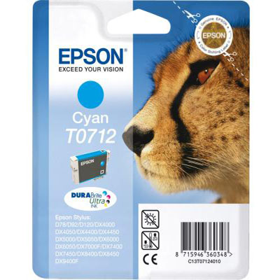 Genuine Epson C13T07124012 Cyan Ink Cartridge (T0712COEM)