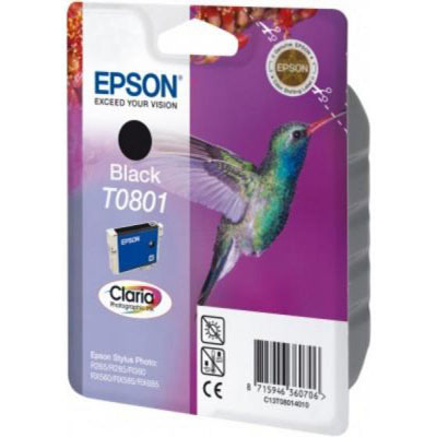 Genuine Epson C13T08014011 Black Ink Cartridge (T0801BKOEM)