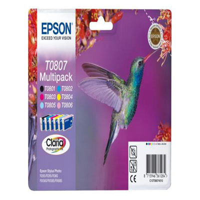 Genuine Epson C13T08074011 BK/C/M/Y/LC/LM Multi Pack Ink Cartridge (T0807BKCMYLCLMMULTIOEM)