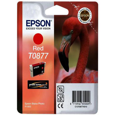 Genuine Epson C13T08774010 Red Ink Cartridge (T0877ROEM)