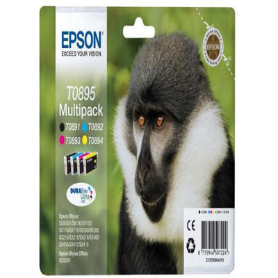Genuine Epson C13T08954010 BK/C/M/Y MULTI PACK Ink Cartridge (T0895BKCMYMULTIOEM)