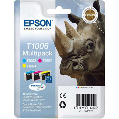 Genuine Epson C13T10064010 C/M/Y Ink Cartridge (T1006CMYMULTIOEM)