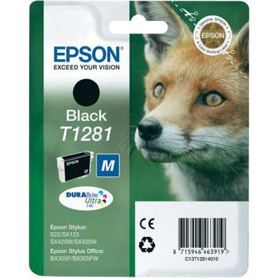 Genuine Epson C13T12814012 Black Ink Cartridge (T1281BOEM)