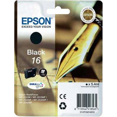Genuine Epson C13T16214012 Black Ink Cartridge (T1621BKOEM)