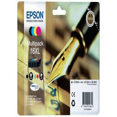 Genuine Epson C13T16364012 BK/C/M/Y Multi Pack High Capacity Ink Cartridge (T1636BKCMYHMULTIOEM)
