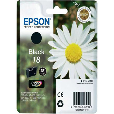 Genuine Epson C13T18014012 (#18) Black Ink Cartridge (T1801BKOEM)