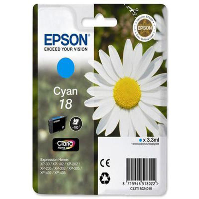 Genuine Epson C13T18024012 (#18) Cyan Ink Cartridge (T1802COEM)