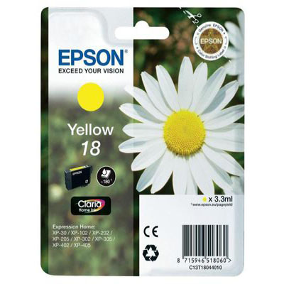Genuine Epson C13T18044012 (#18) Yellow Ink Cartridge (T1804YOEM)