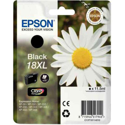 Genuine Epson C13T18114012 (#18H) Black High Capacity Ink Cartridge (T1811XLBKOEM)