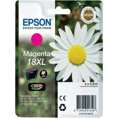 Genuine Epson C13T18134012 (#18H) Magenta High Capacity Ink Cartridge (T1813XLMOEM)
