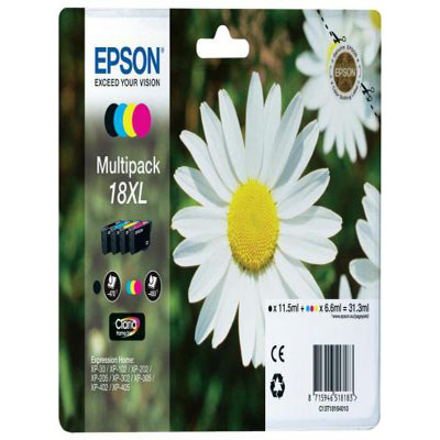 Genuine Epson C13T18164012 (#18H) BK/C/M/Y Multi Pack High Capacity Ink Cartridge (T1816BKCMYMULTIOEMM)