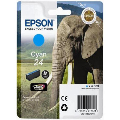 Genuine Epson C13T24224012 (#24) Cyan Ink Cartridge (T2421COEM)