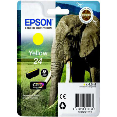 Genuine Epson C13T24244012 (#24) Yellow Ink Cartridge (T2424YOEM)