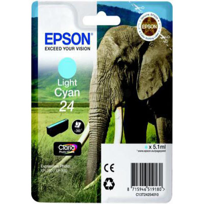 Genuine Epson C13T24254012 (#24) Light Cyan Ink Cartridge (T2425LCOEM)
