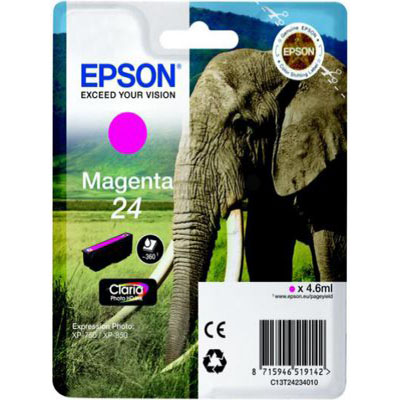 Genuine Epson C13T24264012 (#24) Light Magenta Ink Cartridge (T2426LMOEM)