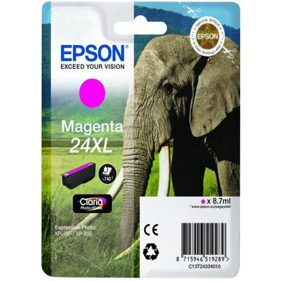 Genuine Epson C13T24334012 (#24H) Magenta High Capacity Ink Cartridge (T2433XLMOEM)