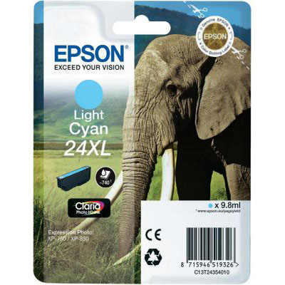 Genuine Epson C13T24354012 (#24H) Light Cyan High Capacity Ink Cartridge (T2435XLLCOEM)