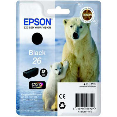 Genuine Epson C13T26014012 (#26) Black Ink Cartridge (T2601BKOEM)