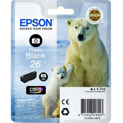 Genuine Epson C13T26114012 (#26) Photo Black Ink Cartridge (T2611PBKOEM)