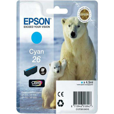 Genuine Epson C13T26124012 (#26) Cyan Ink Cartridge (T2612COEM)