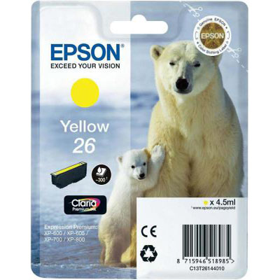 Genuine Epson C13T26144012 (#26) Yellow Ink Cartridge (T2614YOEM)