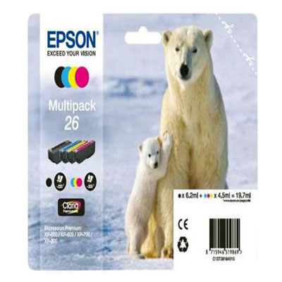 Genuine Epson C13T26164010 (#26) BK/C/M/Y Multi Pack Ink Cartridge (T2616BKCMYMULTIOEM)